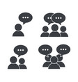 set pictogram social people with chat bubble vector image