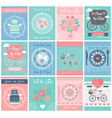 set wedding vintage design posters vector image