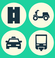 shipment icons set collection of skooter vector image vector image