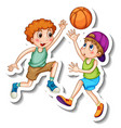 sticker template with two kids playing basketball vector image