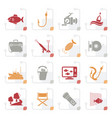stylized fishing industry icons vector image
