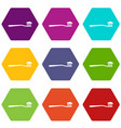 toothbrush icon set color hexahedron vector image vector image