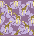 tropical pattern with giraffes vector image