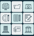 set of 9 school icons includes home work e-study vector image