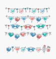 set of isolated love theme icons and bunting vector image