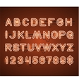 Glowing Orange Neon Bar Alphabet vector image