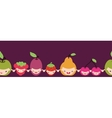 Happy fruit characters horizontal seamless pattern vector image