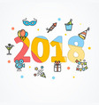 2018 party new year greeting card poster vector image vector image