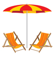 Beach umbrella with chair Wooden Furniture and vector image vector image