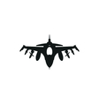 black fighter jet icon on white background vector image