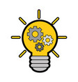 bulb with gears icon vector image vector image