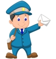 Cartoon Mail carrier with bag and letter vector image