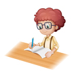 Cartoon Student Writing vector image