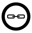 chain link icon black color in circle vector image