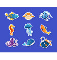 collection childish stickers with cute sea vector image vector image