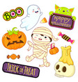 collection of halloween icons vector image vector image
