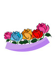 colorful rose painting on white background vector image