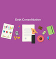debt consolidation business concept terms with vector image