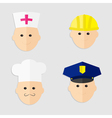 Different professions man head icon set Policeman vector image vector image