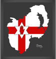 down northern ireland map with ulster banner vector image vector image