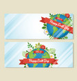earth day web banner set of green world with leaf vector image
