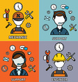 Engineering mechanic and support set flat outlined vector image