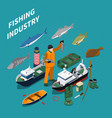 fishing isometric concept vector image vector image