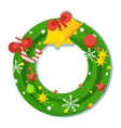 flat green christmas wreath vector image vector image