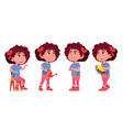 girl kindergarten kid poses set vector image vector image