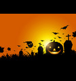 halloween pumpkin on grass with moon light vector image vector image