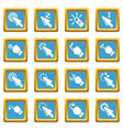 hand click icons set sapphirine square vector image vector image