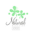 hand drawn emblem with green leaves and lettering vector image vector image