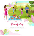 happy family day off cartoon web banner vector image