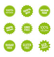 healthy food icon set natural product labels vector image vector image