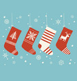 holiday stockings christmas stockings set vector image vector image
