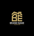 initial letter b and e with roreal estate vector image vector image