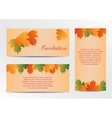 Invitation card with autumn colorful leaves vector image