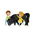 litlle kids taking care of they horse equestrian vector image vector image