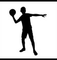 little boy ready to throw ball silhouette vector image vector image