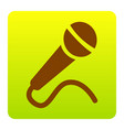 microphone sign brown icon vector image vector image