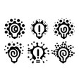 monochrome stylized lightbulbs logotypes set new vector image vector image
