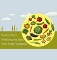 organic fruits and vegetables food hand drawing vector image