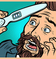 pregnancy test scared bearded hipster man husband vector image