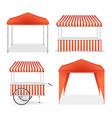 realistic detailed 3d red and striped blank market vector image vector image