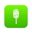 semaphore trafficlight icon digital green vector image