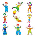 set of funny characters clowns in beautiful vector image vector image