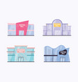 set shopping mall building exterior flat vector image vector image