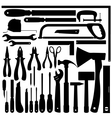 silhouettes work tools instruments set vector image