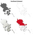 Southeast Sulawesi blank outline map set vector image vector image
