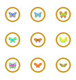 spring butterflies icons set cartoon style vector image
